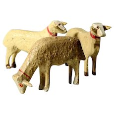 LAYAWAY -Three Lovely Wooden Stick Legs Sheep Hand Carved and Painted Doll Village