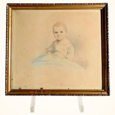 19th Century Water Colored Drawing Portrait of a Child by Abraham Frenzel 1839