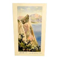 """Amazing Little Water Color Gibraltar """"Where the Monkeys Live """"Dated 1886"""