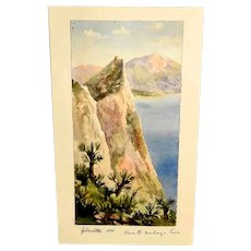"Amazing Little Water Color Gibraltar ""Where the Monkeys Live ""Dated 1886"