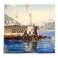 Amazing Little Water Color Gibraltar Dated 1886