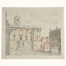 Study Palazzo Senatorio Rome Water Color/Pencil
