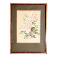 Delicate Water Color Rose Branches ca. 1900