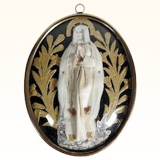 Charming German Reliquary Our Lady of Rosary ca. 1900