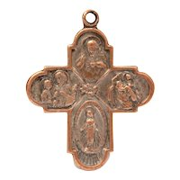 "Catholic 4 Way Cross Medal with Sacred Heart, Saints Christopher & Anthony ""Call a Priest"""