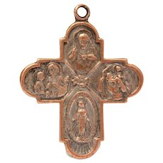 """Catholic 4 Way Cross Medal with Sacred Heart, Saints Christopher & Anthony """"Call a Priest"""""""