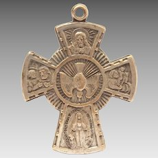 4 Way Cross Catholic Medal, Sacred Heart of Jesus, Miraculous Medal, St. Christopher Medal, St. Joseph, Descending Dove, Call A Priest