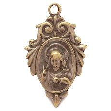 "Tiny Sacred Heart of Jesus Catholic Medal, Bebe Doll Size 7/8"", Silver Plate"