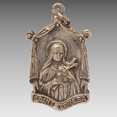 "Saint Teresa Catholic Medal ""Spend Heaven Doing Good"", Silverplate"