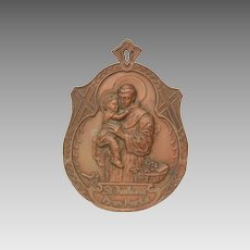 St. Anthony Pray For Us Icon, Thin Pressed Bronze or Brass Wall Plaque, Large Jesus Medal