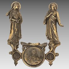 Catholic Alpha & Omega Brass Plated Plaque by Janco, Sacred Heart of Jesus
