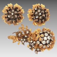 Miriam Haskell Rhinestone Flower Pin & Earrings