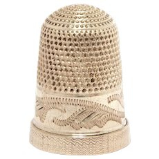 Antique Sterling Thimble with Zig Zag Engraving