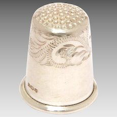 English Sterling Sewing Thimble with Hand Engraved Design, Birmingham MK