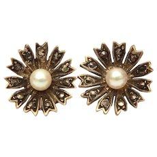 Sterling Flower Pierced Screwback Earrings, Marcasite Petals with Pearl Centers, Germany