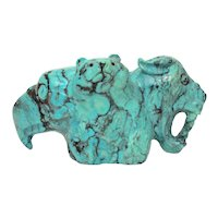 Dan Quam Zuni Carved Turquoise Fetish with Bear, Eagle, Mountain Lion, Large and Signed