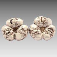 Sterling Japanese Noh Mask Pierced Earrings, Signed