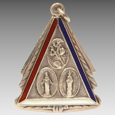 Patriotic Catholic Medal Sterling Red White Blue Enamel, Holy Trinity