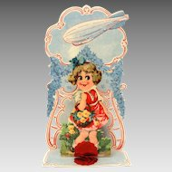 German Zeppelin Valentine, Folding Pop Up Card with Honeycomb & Big Eyed Girl, Printed in Germany