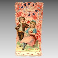 Germany Folding Valentine Card with Violin Music for Lovers, Embossed Chromolithograph
