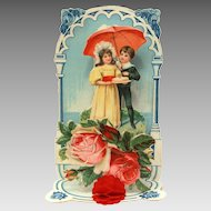 Germany Valentine Card with Honeycomb, Lovers Under Umbrella, Embossed Roses, Folding Fold Out Card