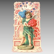 """""""To My Valentine"""" Germany Folding Card, Angel with Love Letters"""