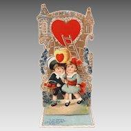 Big Eyed Girl & Boy Valentine Card, Germany Fold Out with Poem