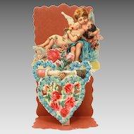 German Folding Valentine Card with Edwardian Scrap Cherub Kissing Woman
