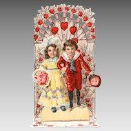 German Folding Valentine Card, Child Bride & Groom Wedding