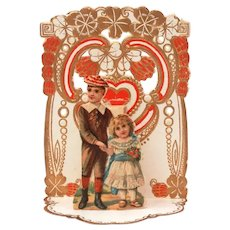 Boy & Girl Valentine Card, Germany Fold Out with Poem