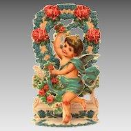 Dancing Cherub & Flowers Valentine's Day Card, Folding Germany