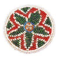 """Native American Beaded Horse Hair Star Rosette, Hide Circle 3 1/2"""" x 1/2"""" Thick"""