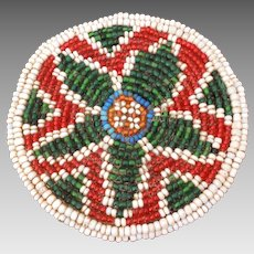 "Native American Beaded Horse Hair Star Rosette, Hide Circle 3 1/2"" x 1/2"" Thick"