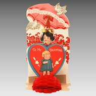 1930s Valentine Card, Folding Pop Up with Honeycomb Tissue Paper, Girl Under Pink Parasol