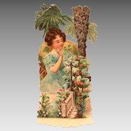 Edwardian German Valentine, Fold Out, Woman in Garden of Flowers