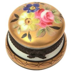 "Porcelain Hand Painted Roses in Gold Trinket Box with Hinged Lid, Signed ED, Tiny 1.25"" High"