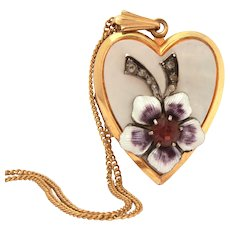 """1950s Gold Filled Heart Locket, Guilloche Enamel Flower, Mother of Pearl, 18"""" Chain Necklace"""