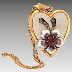 "1950s Gold Filled Heart Locket, Guilloche Enamel Flower, Mother of Pearl, 18"" Chain Necklace"