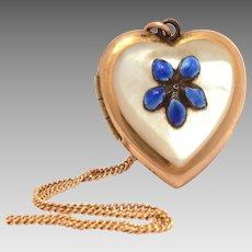 "JMF CO Gold Filled Heart Locket, Blue Enamel Forget Me Not Flower, Mother of Pearl, 16"" Chain Necklace"