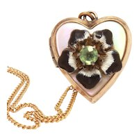 """Gold Filled Heart Locket, Guilloche Enamel Flower on Mother of Pearl, 16"""" Chain Necklace"""