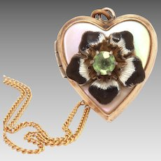 "Gold Filled Heart Locket, Guilloche Enamel Flower on Mother of Pearl, 16"" Chain Necklace"