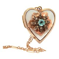 """Gold Filled Heart Locket on Delicate 18"""" Chain, Layered Flower Petals, Blue Rhinestone Center"""