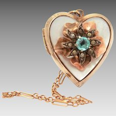 "Gold Filled Heart Locket on Delicate 18"" Chain, Layered Flower Petals, Blue Rhinestone Center"