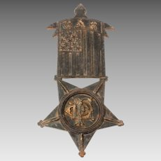 GAR Grand Army of the Republic Cast Iron Plaque, Flag Holder, or Grave Marker