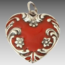 Sterling Puffy Heart Charm with Red Resin Enamel