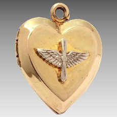 WWII Pilot Wings Sterling Gold Filled Heart Locket, Sweetheart Jewelry