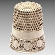 Simons Bros. Sterling Sewing Thimble with Band of Large & Small Circles, Size 8