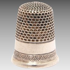 Antique Sterling Child Size Sewing Thimble, Size 4