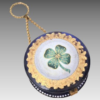 Antique Hand Painted Cobalt Glass Chatelaine Dance Purse Compact on Finger Ring, 4 Leaf Clover, Possibly Moser