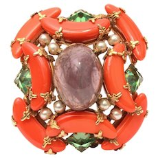Schreiner New York Large Pin with Glass Amethyst, Coral, & Inverted Peridot Rhinestones
